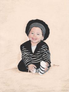 Fannys - Portrait pastels secs - Petite fille en marinière