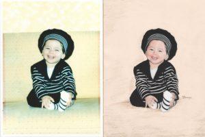 Fannys - comparainson dessin photo - Petite fille en marinière