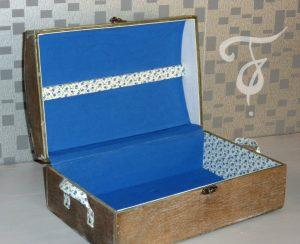 Fannys - Boîte bleue bois et tissus