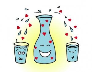 Fannys - carafe et verres pleins d'amour