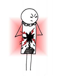 La souffrance : vide en soi comme un trou noir, éclairs rouges, poids, chaîne autour de la gorge...