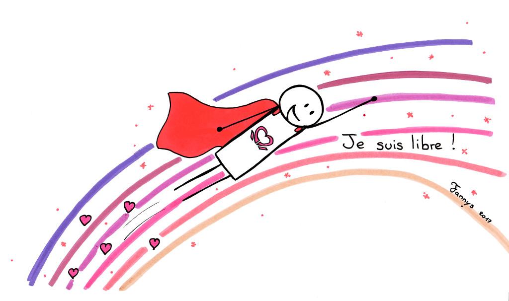 Je suis libre ! (Super-héro de l'Amour volant sur un arc-en-ciel rose)