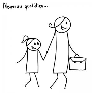 Nouveau quotidien, emmener ses enfants à l'école dans une attitude ouverte, positive et souriante