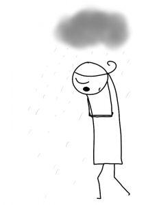 attitude triste, nuage gris