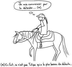 Je vais commencer par la détendre... En fait, ce n'est pas le cheval qui a le plus besoin de détente, mais la cavalière !