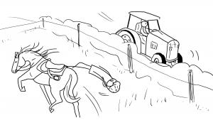 Le cheval fait un écart, la cavalière tombe...