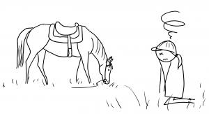 La cavalière est sonnée, tandis que le cheval broute tranquillement