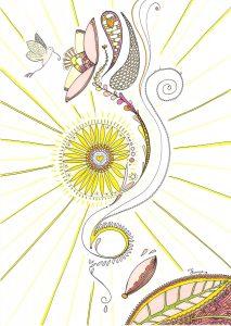 Mandala, dessin au feutre, papillon, colibre, fleur, soleil, végétal.