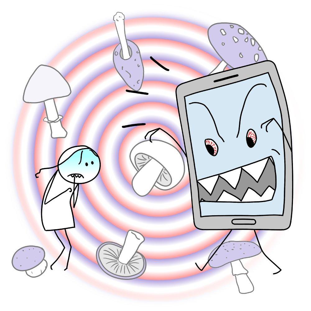 La peur du téléphone, délire, champignons...