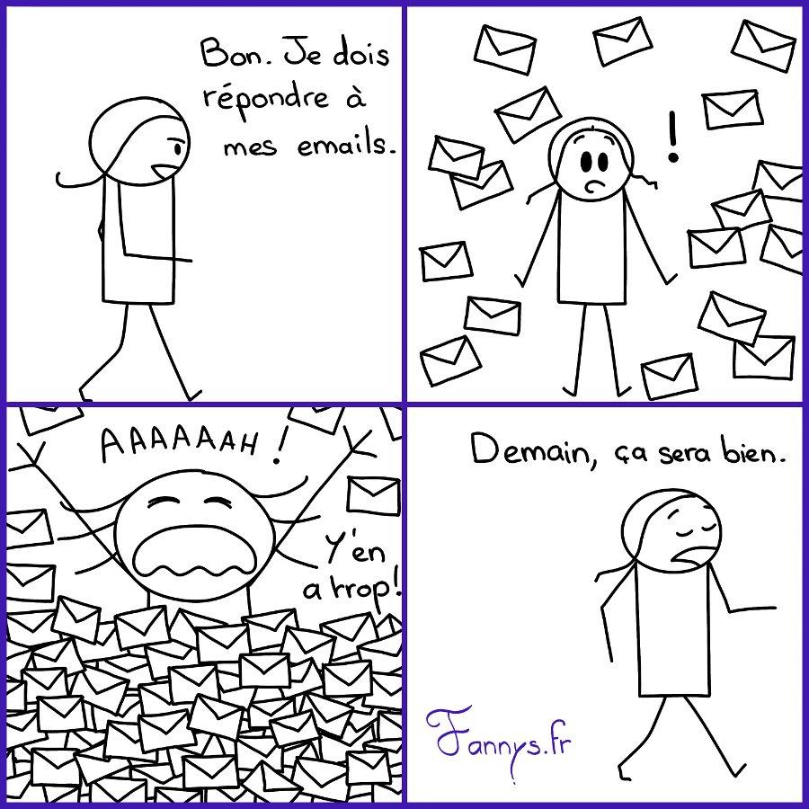 Trop d'emails ! Je procrastine.