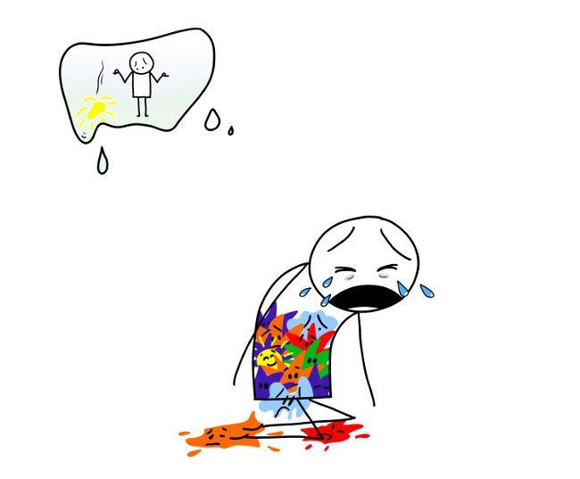 émotions qui débordent - implosion - tristesse