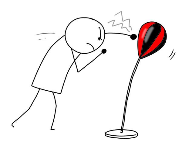 frapper un punching-ball