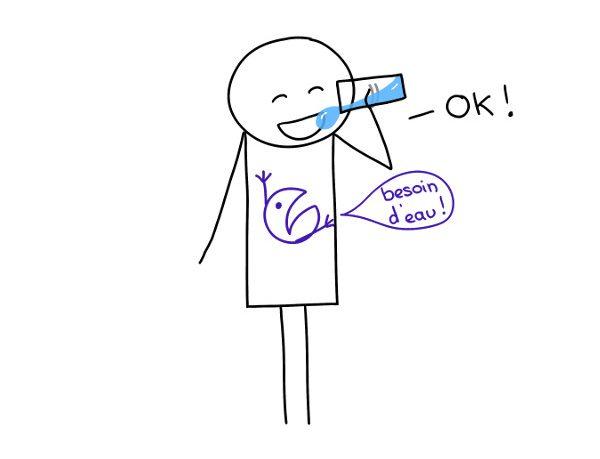 ok, boire de l'eau quand on a soif